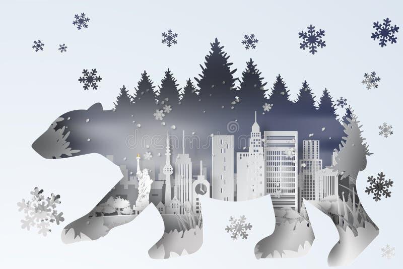искусство иллюстрации 3D цифровое бумажное леса в Нью-Йорке США ландшафт снежный с концепцией тени кривой полярного медведя, бели бесплатная иллюстрация