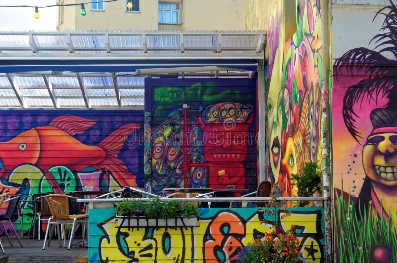 Искусство или граффити улицы в Бергене, Норвегии стоковая фотография