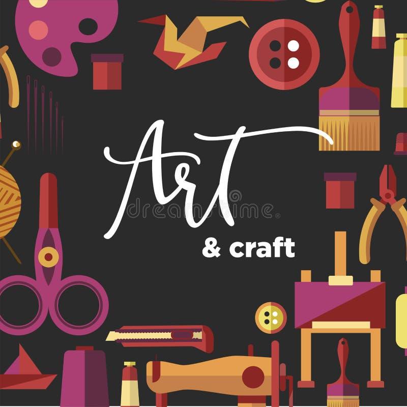Искусство и ремесло vector плакат для ремесленничества DIY и handmade классов мастерской иллюстрация штока