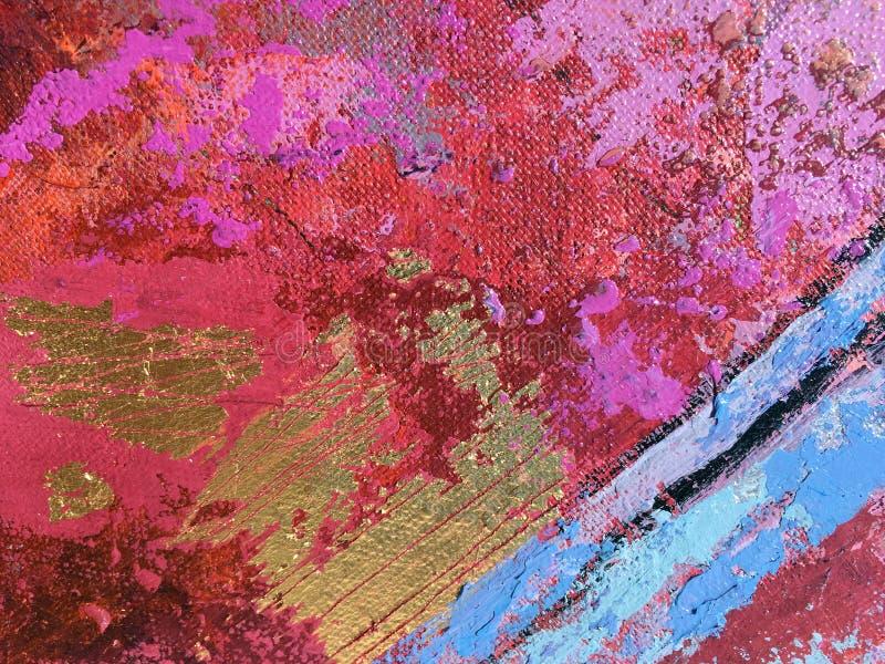 Искусство картины захода солнца абстрактное с естественными акриловыми текстурами на холсте иллюстрация штока