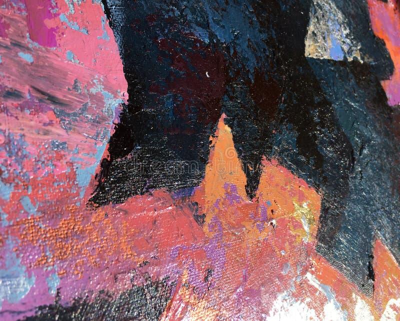 Искусство картины захода солнца абстрактное с естественными акриловыми текстурами на холсте иллюстрация вектора