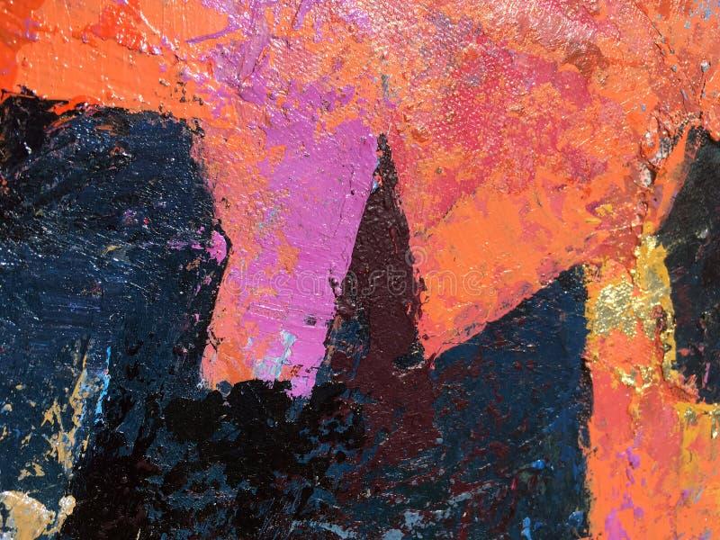 Искусство картины захода солнца абстрактное с естественными акриловыми текстурами на холсте бесплатная иллюстрация