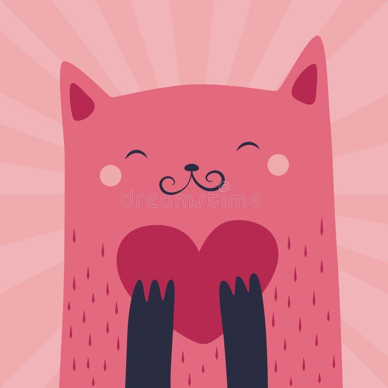 Искусство киски влюбленности розовое иллюстрация вектора