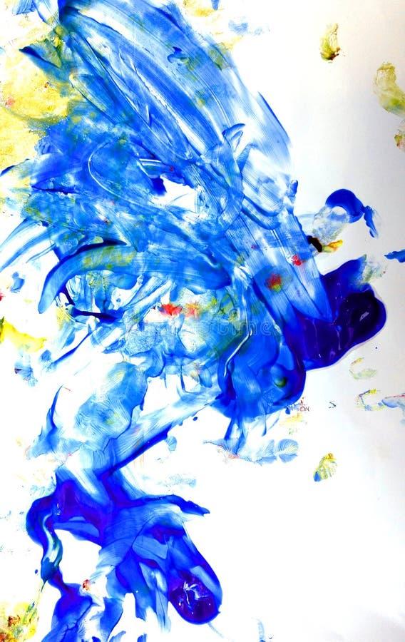 Искусство краски пальца голубое и желтое стоковые фото