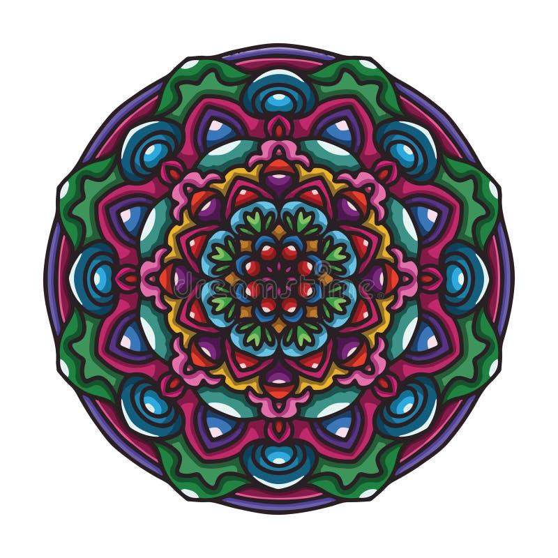 Искусство мандалы руки вектора вычерченное красочное с орнаментом конспекта флористическим этническим Племенной орнамент Иллюстра бесплатная иллюстрация