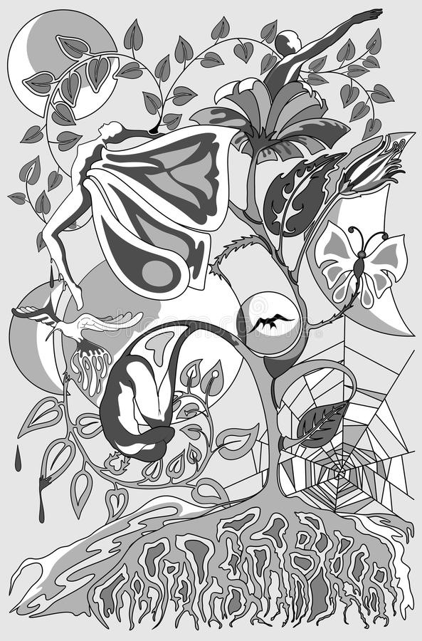 Искусство метаморфозы и соединений сюрреалистическое схематическое иллюстрация вектора