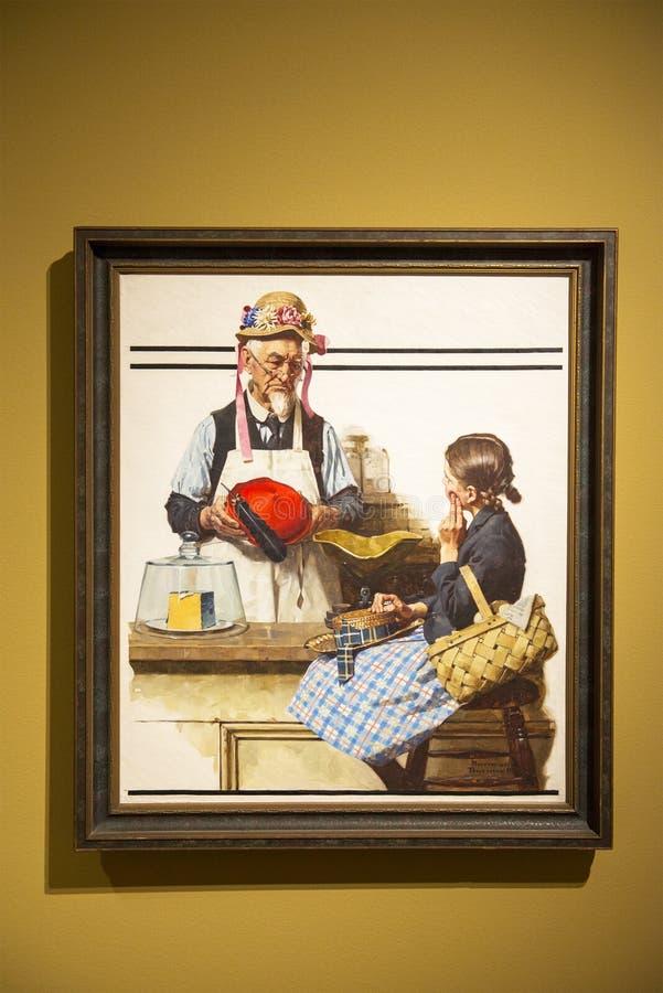 Искусство Нормана Роквелла, художник, крася стоковые фото