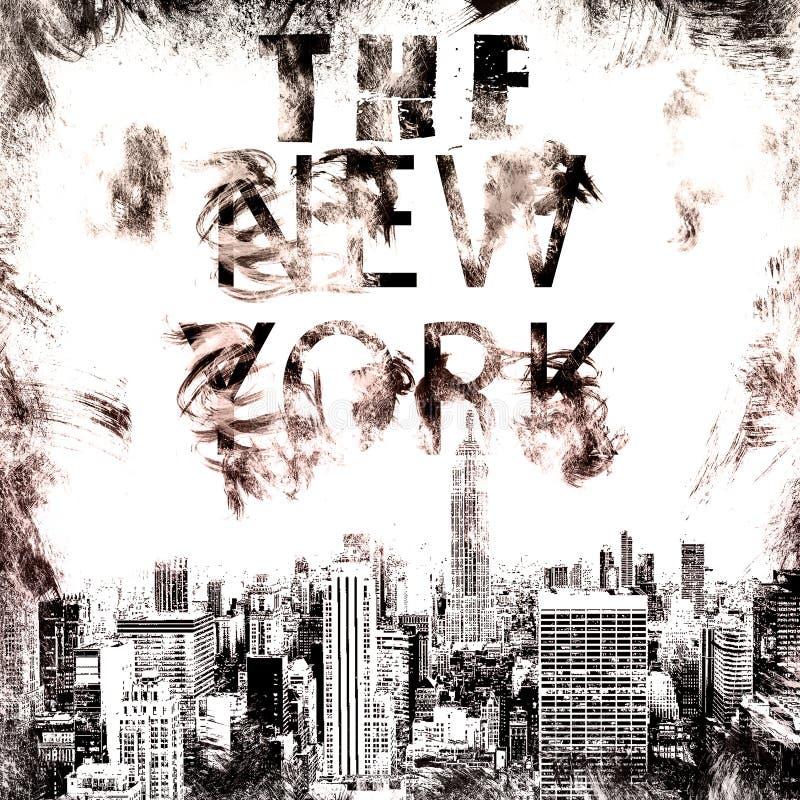 Искусство Нью-Йорка Стиль NYC улицы графический Печать моды стильная Одеяние шаблона, карточка, ярлык, плакат эмблема, штемпель ф иллюстрация вектора
