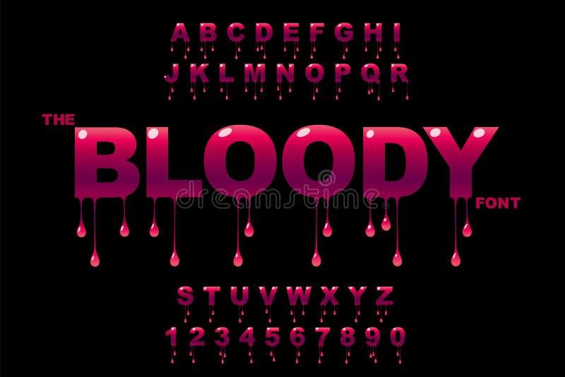 Искусство падений Кровопролитное искусство Искусство варенья Вектор современных смелых шрифта и алфавита иллюстрация штока