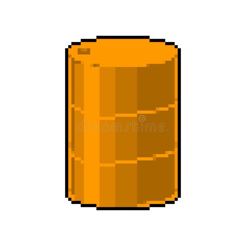 Искусство пиксела бочонка ядовитых отходов желтое 8 сдержанных нефтей бочки иллюстрация штока