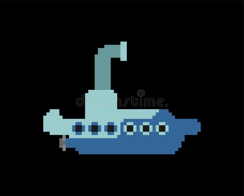 Искусство пиксела подводной лодки Корабль для подводного ныряя бита 8 r бесплатная иллюстрация