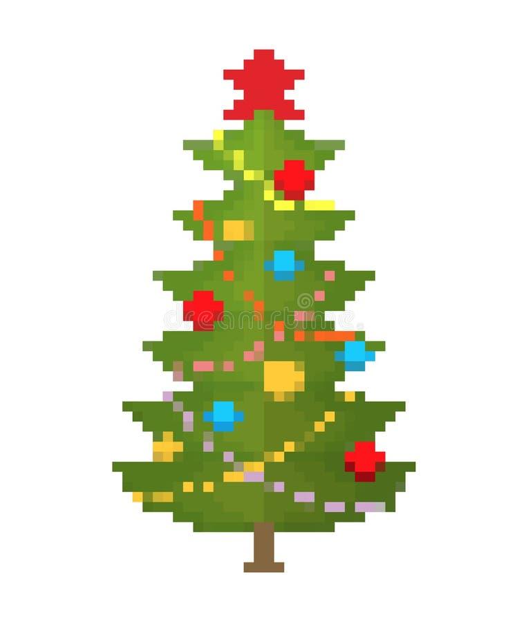 Искусство пиксела рождественской елки Новый Год 8bit иллюстрация штока