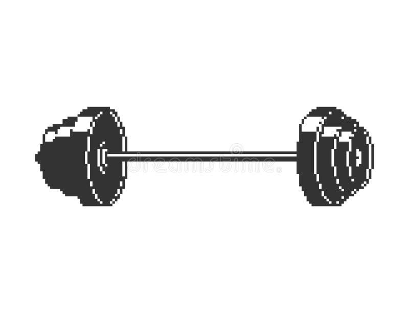 Искусство пиксела штанги изолированный объект спорта 8 битов иллюстрация штока