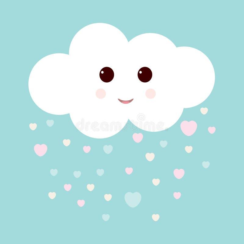 Искусство питомника со счастливыми усмехаясь облаком и дождем сердец Милая иллюстрация валентинок иллюстрация вектора