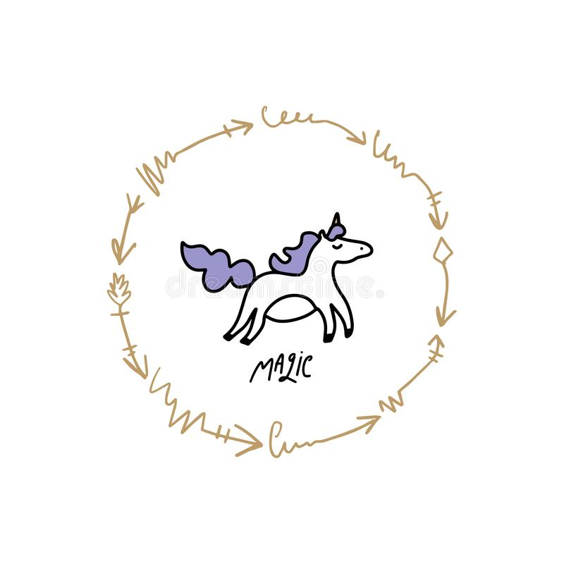 Искусство питомника doodle единорога девушки милой руки вычерченное Хороший для печатей, приглашений дня рождения, карт Вектор, и иллюстрация вектора