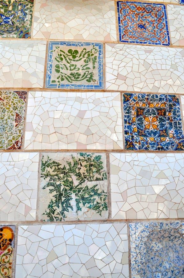 Искусство плитки Güell парка стоковое изображение rf