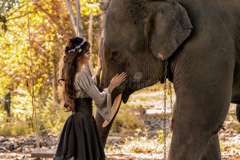 Искусство портрета красивых женщин и слонов стоковое изображение rf