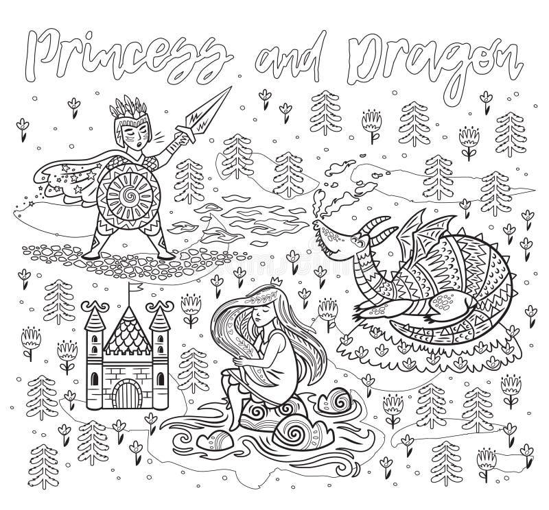 Искусство принцессы и дракона в плане Волшебная печать фантазии иллюстрация вектора