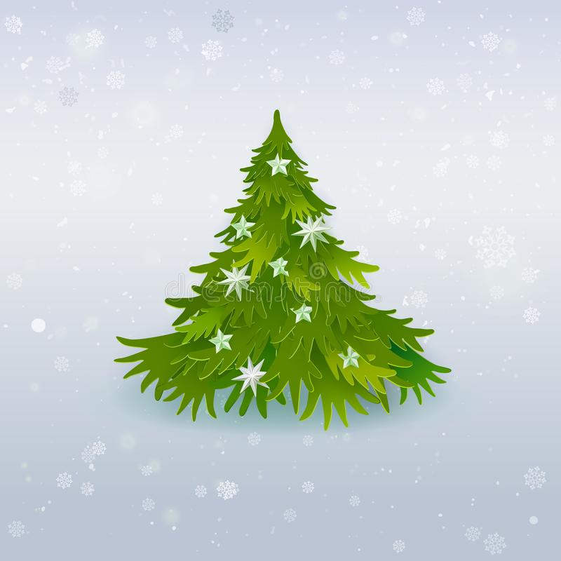 Искусство рождественской елки бумажное на белизне бесплатная иллюстрация