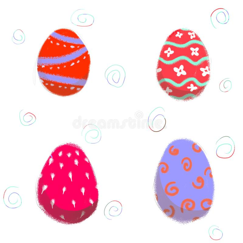 Искусство руки состава пасхальных яя вычерченное цифровое Установите стоковое изображение rf