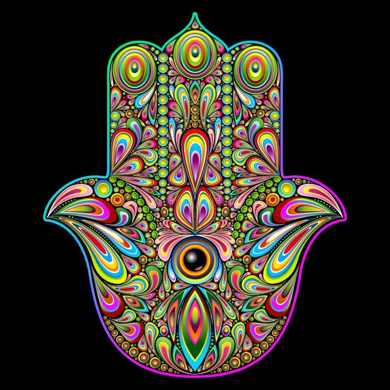 Искусство руки Hamsa психоделическое иллюстрация вектора