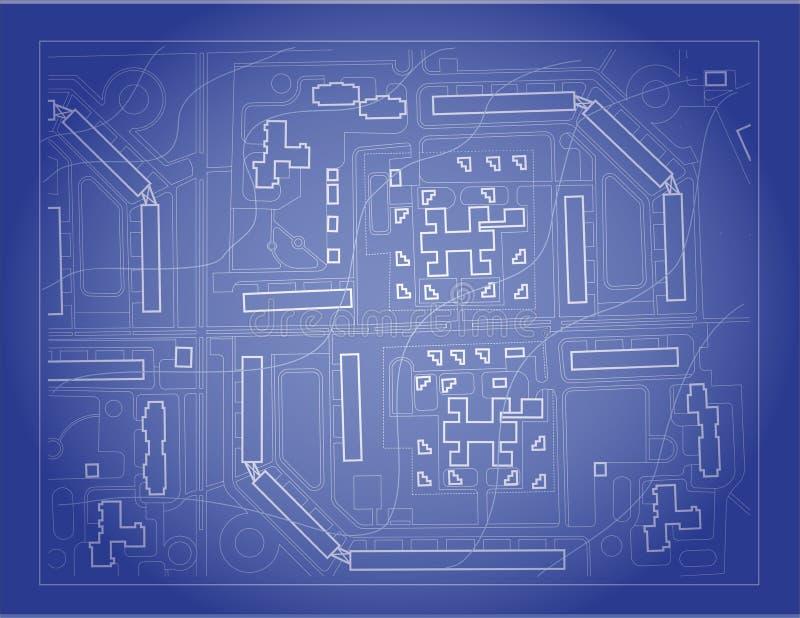 Искусство светокопии на голубой предпосылке вектор с белой линией иллюстрация штока