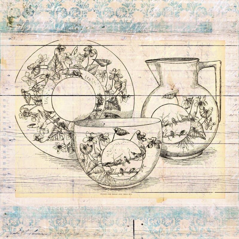 Искусство стены античного винтажного стиля затрапезное grungy флористическое с чаем поднимающим вверх и кувшином иллюстрация штока