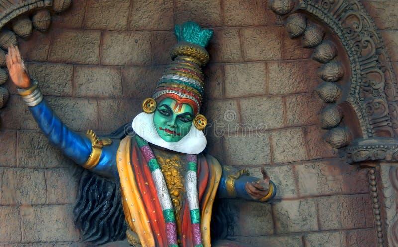 Искусство стены танцора Кералы традиционное Kathakali индейца стоковая фотография rf
