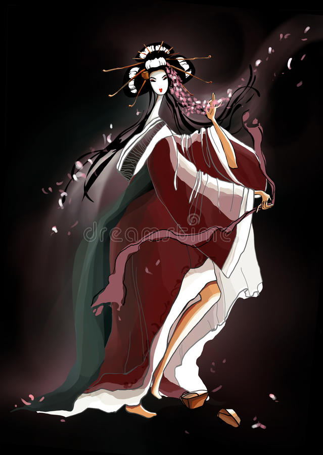 Искусство с молодой гейшей танцев, иллюстрацией на b бесплатная иллюстрация
