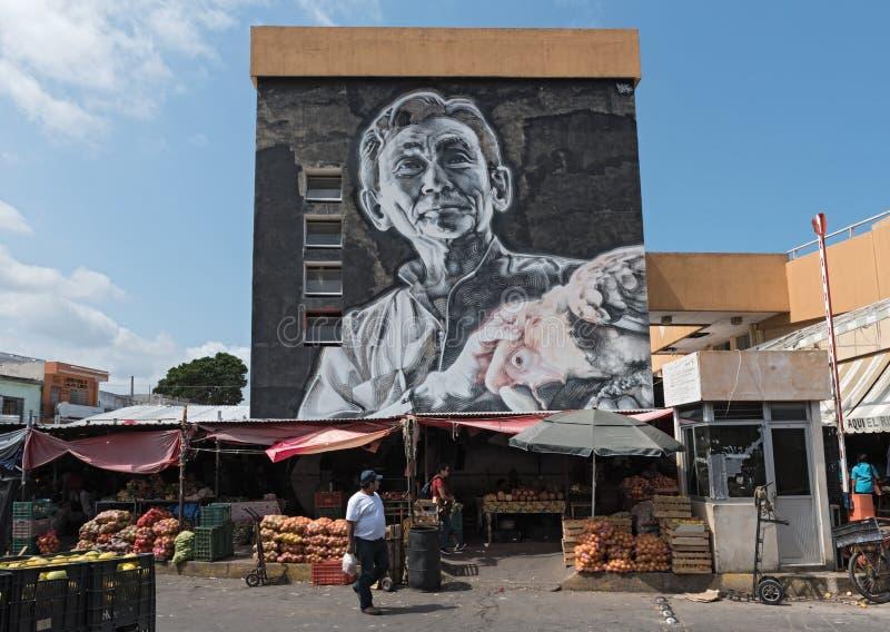 Искусство улицы на главе в Кампече, Мексике Mercado стоковые изображения