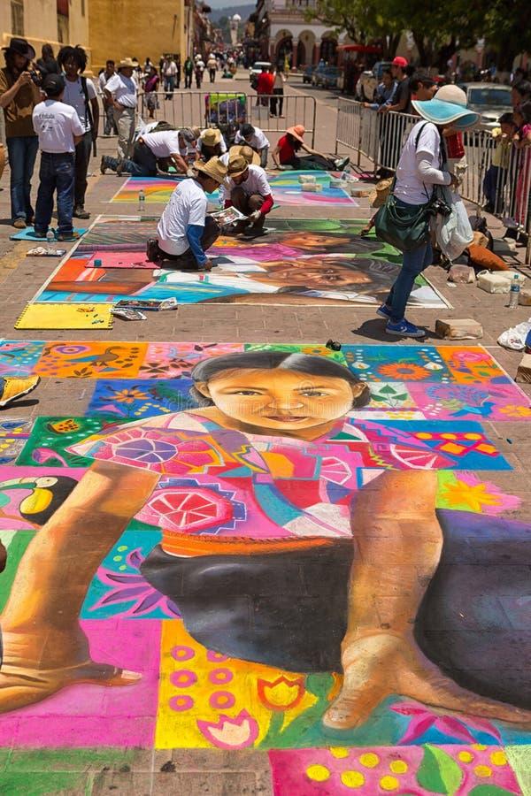 Искусство улицы чертежа мела в Мексике стоковые изображения rf