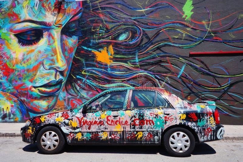Искусство улицы граффити в районе Wynwood Майами стоковая фотография rf