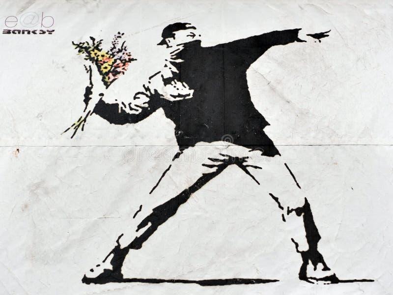 Искусство улицы Banksy стоковое изображение
