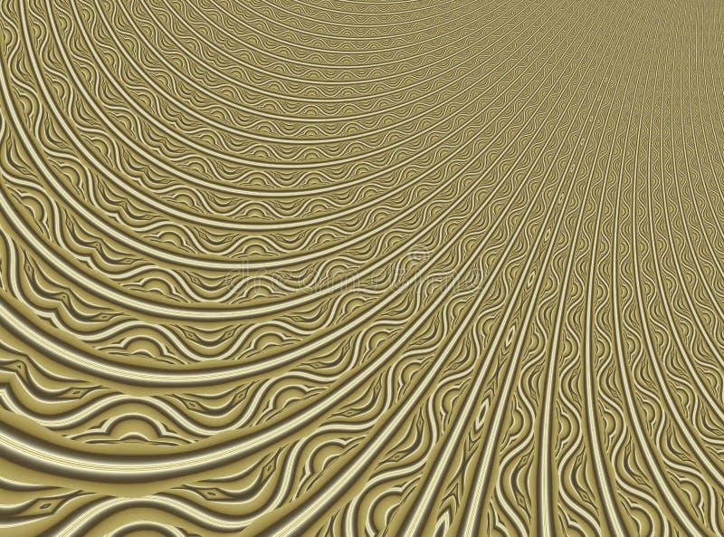 Искусство фрактали точного золота современное абстрактное Иллюстрация предпосылки при передернутая детальная картина resembing фи бесплатная иллюстрация
