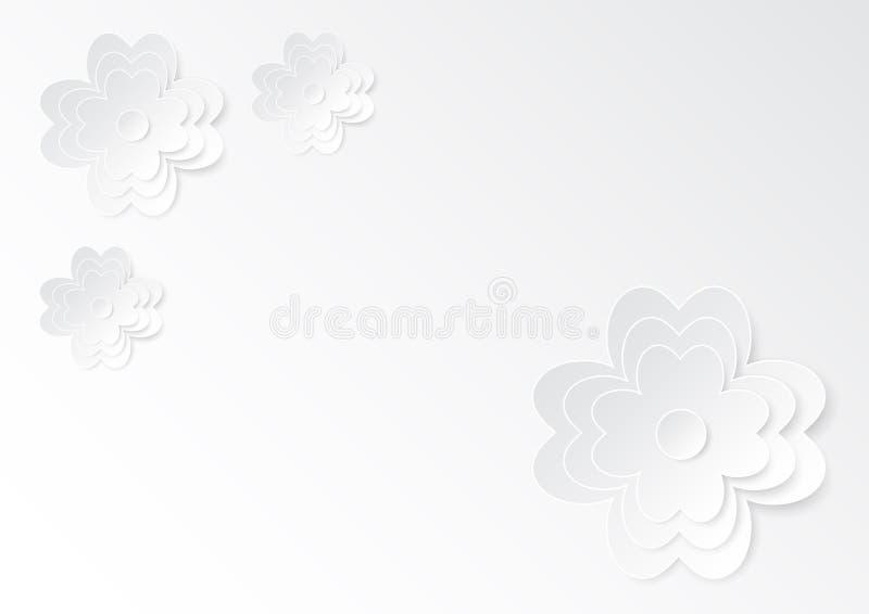 Искусство цветка вырезывания белой бумаги на белой бумаге иллюстрация штока