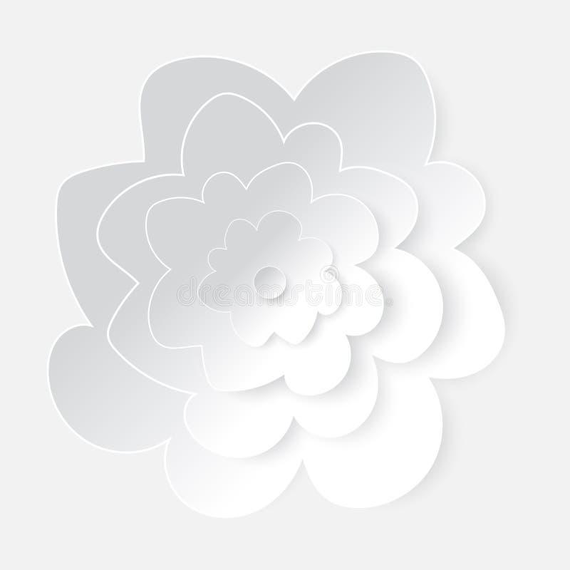 Искусство цветка вырезывания белой бумаги иллюстрация вектора