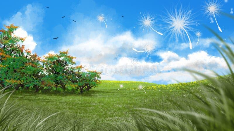 Искусство цифров свежего зеленого лужка весной бесплатная иллюстрация