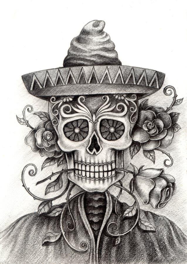 Искусство черепа Чертеж руки на бумаге иллюстрация вектора