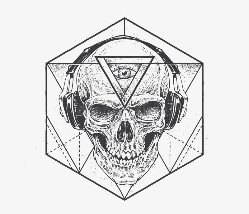 Искусство черепа Dotwork иллюстрация вектора
