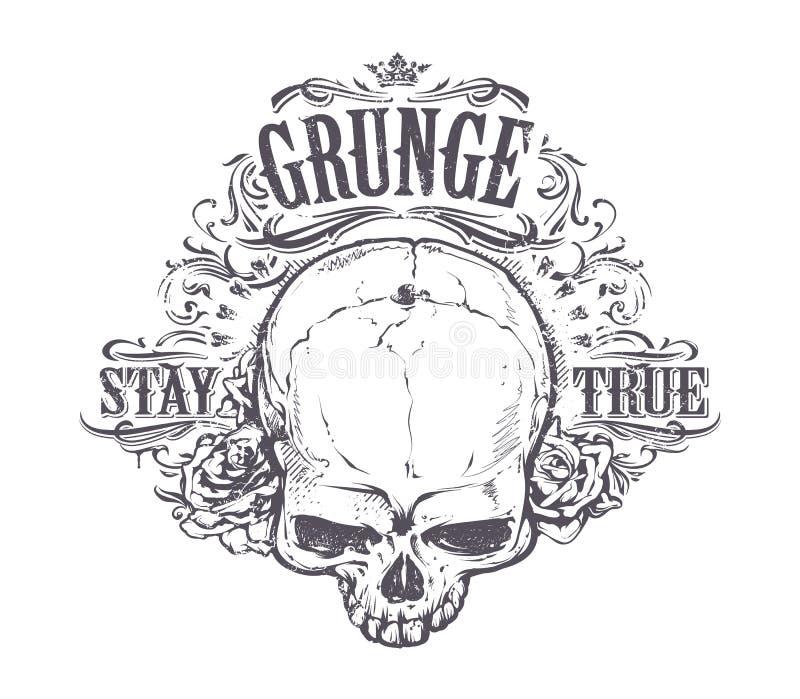 Искусство черепа Grunge иллюстрация вектора