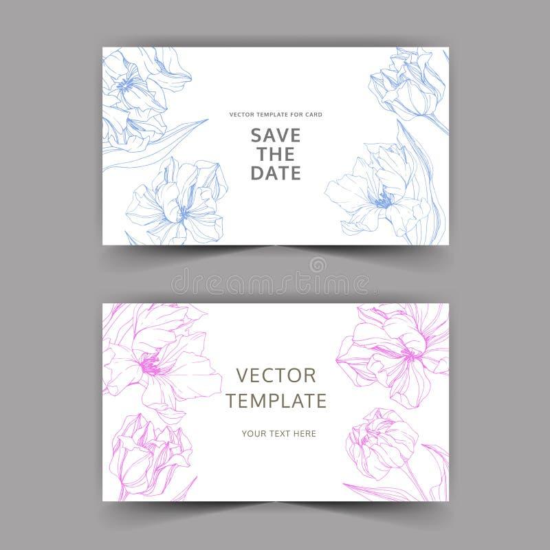 Искусство чернил вектора выгравированное тюльпаном Граница карты предпосылки свадьбы флористическая Спасибо, rsvp, иллюстрация ка иллюстрация штока