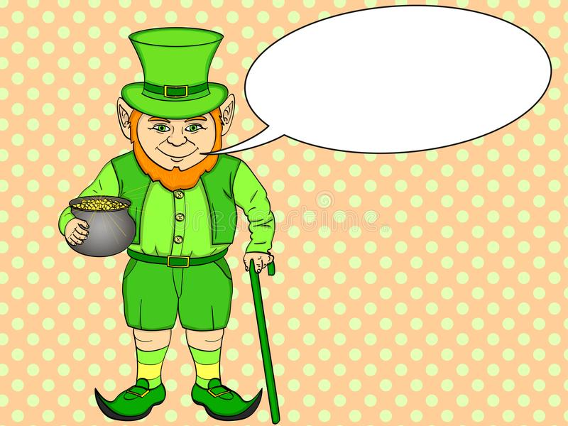 Искусство шипучки лепрекона счастливый St. Patrick держит котел полный золотых монеток в его руках Имитационный шуточный вектор с иллюстрация штока