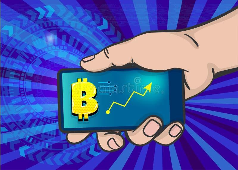 Искусство шипучки bitcoin телефона владением руки человека иллюстрация вектора