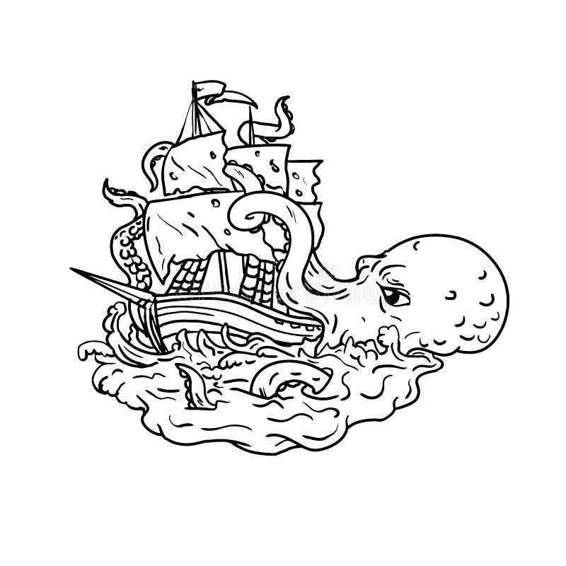 Искусство Doodle парусного судна Kraken атакуя иллюстрация вектора