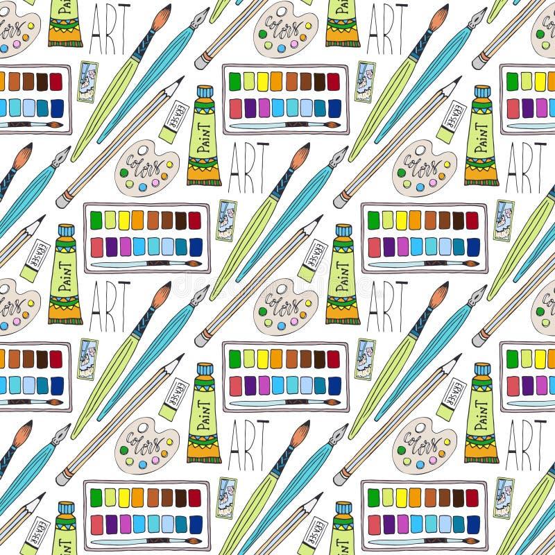 Искусство doodles шаржа вектора нарисованное рукой поставляет безшовную картину Предпосылка школы иллюстрация штока