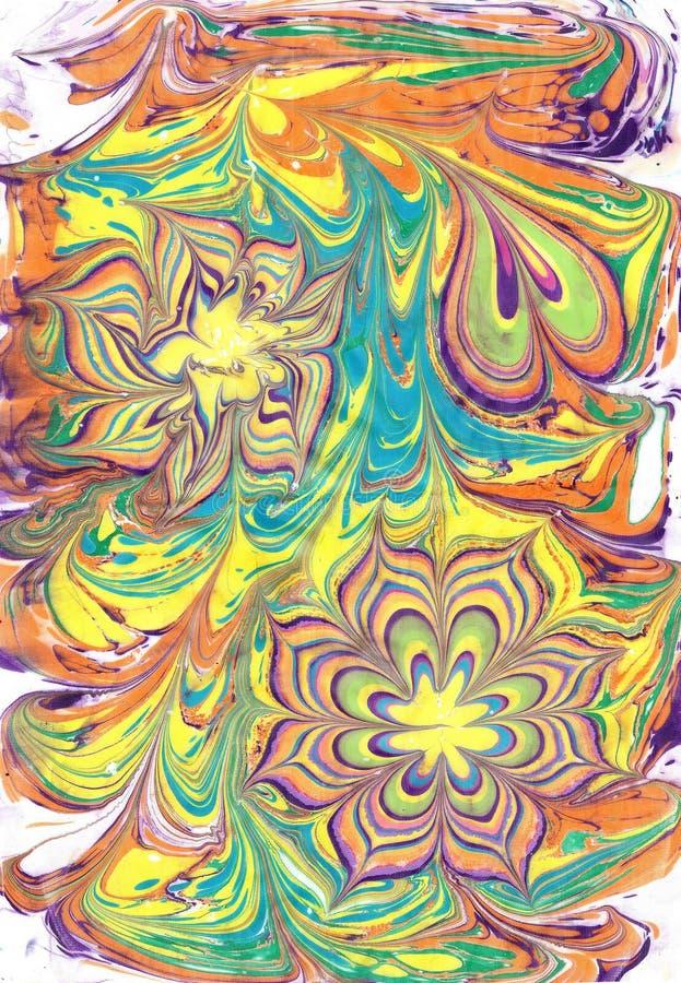 Искусство Ebru Turkish Вода нарисована, тогда перенесена к бумаге иллюстрация вектора