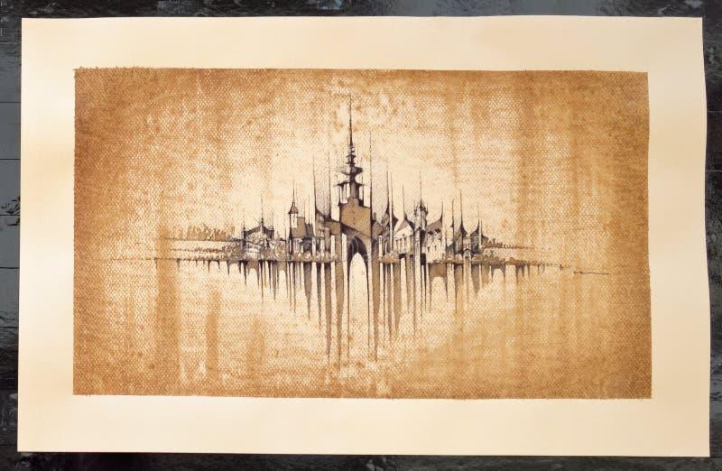 Искусство Pavel Filgas - панорама Братиславы стоковая фотография