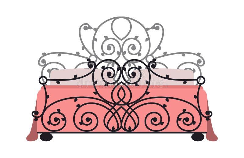 Исключительная кровать моды спальни дизайна мебели спать и оформление квартиры релаксации внутренней комнаты удобное домашнее иллюстрация штока