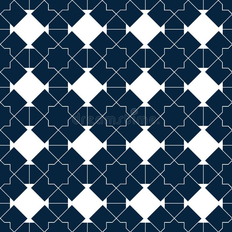 Исламская безшовная картина вектора Белые геометрические орнаменты основанные на традиционном арабском искусстве Восточная мусуль иллюстрация вектора