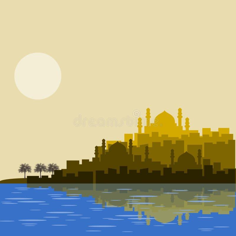 Исламский аравийский силуэт города иллюстрация вектора